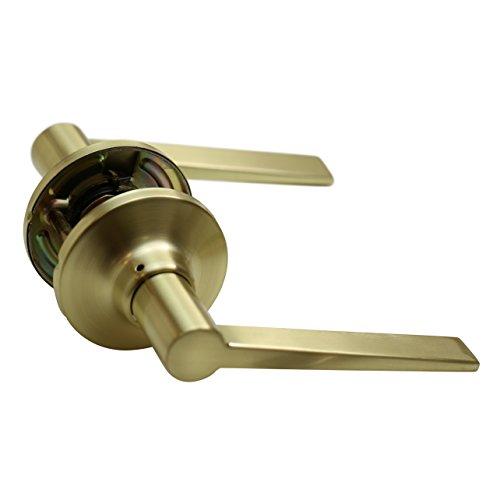 (Essen Lockset - Satin Brass - Passage (Door Lever Knob Handle Leverset Modern Gold Amber) Brushed Brass)