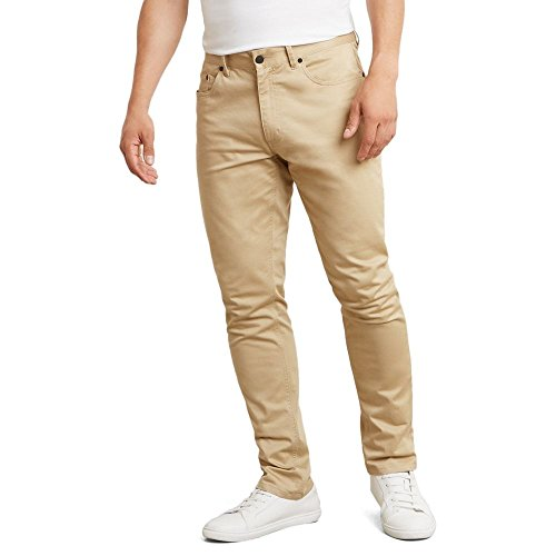 Kenneth Cole New York Men's Slim Five Pocket Sateen Pant, Khaki, 32W x 32L (Mens Cole Kenneth Pants)