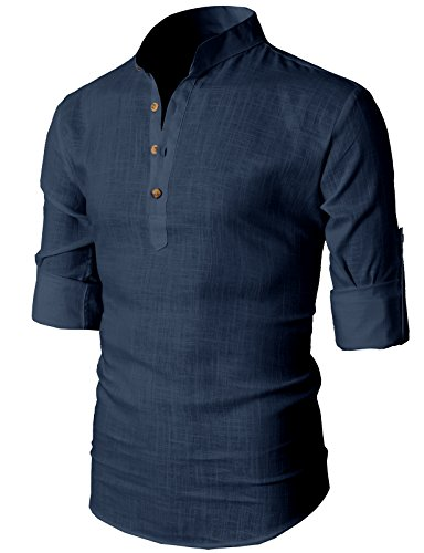 H2h Mens Simple Designed Roll Up Sleeve Popover Shirt Navy Us Xs Asia S  Kmtstl0291