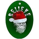 CafePress - Sasquatch/Bigfoot Santa BELIEVE Ornament (Oval) - Oval Holiday Christmas Ornament