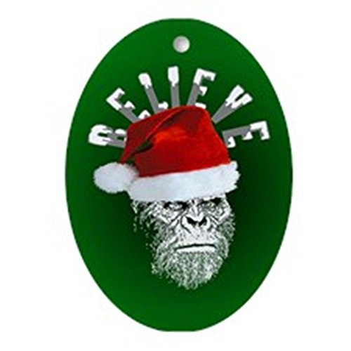 CafePress Sasquatch/Bigfoot Santa BELIEVE Ornament (Oval) Oval Holiday Christmas Ornament