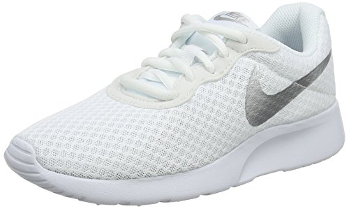 Nike Womens Tanjun Low Top Lace Up Running, White/Metallic Silver, Size 7.5