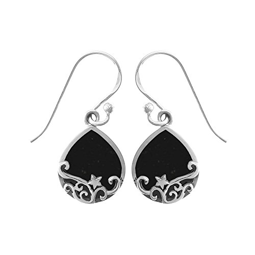 Boma Jewelry Sterling Silver Onyx & Star (Onyx Star Earrings)