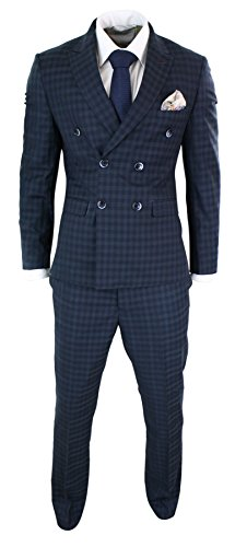 Cavani Mens Double Breasted Navy Blue Check Classic Gatsby Vintage Tailored Fit Suit Navy 42 -