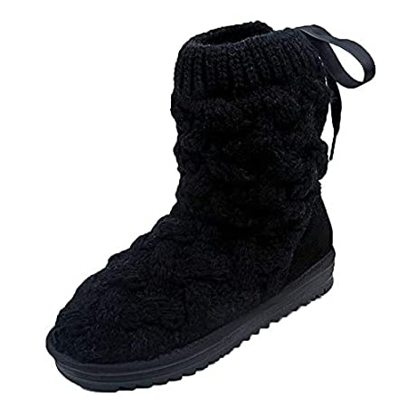Mujer Botas De Nieve De Punto Unidas,ZARLLE Botas de nieve de tubo alto de lana de arco de mujeres Botas de nieve zapatos de invierno: Amazon.es: Bebé