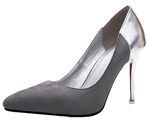 No.66 Town Women's Stiletto Heel Suede OL-Style Dress Pumps Court Shoes Grey-silver K0dE0pocb