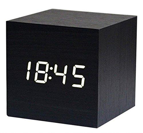 Zeuxs Sveglia Digitale Cubo Legno LED Scrivania Comodino Alarm Clock Wood Cube Orologio Sound Set Mute Colore di Bambù