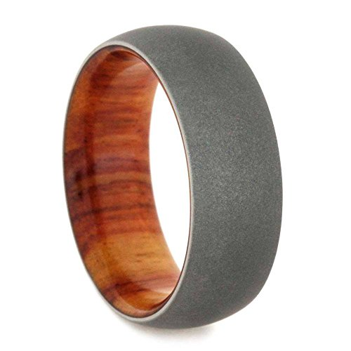 Beadblast Titanium Dome 8mm Comfort-Fit Tulip Wood Band and Sizing Ring, Size 8.75 by The Men's Jewelry Store (Unisex Jewelry)