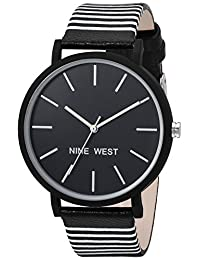 Nine West NW/2161BKBK Women's Dress Watch, Quartz Metal and Polyurethane, Black