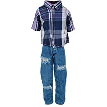 MonkeyJack Check Shirt Tops & Jeans Pants Suit for Ken Doll Barbie Boyfriend Fashion Doll Clothes Trouser Outfit Clothing