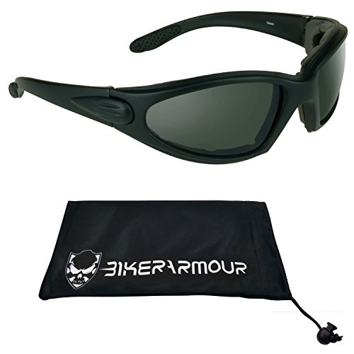 Motorcycle Polarized Sunglasses Foam Padded with Safety Polycarbonate Lenses. - Free Microfiber Cleaning Case