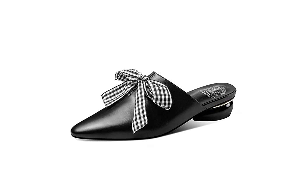 Black Nine Seven Women's Genuine Leather Pointed Toe Chunky Heel Mule Handmade Glossy and Comfortable Summer Sandal shoes