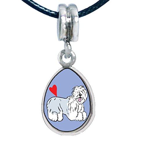 (GiftJewelryShop Silver Plated Old English Sheepdog Animal Photo Angel Tears Bead Charm Bracelets)