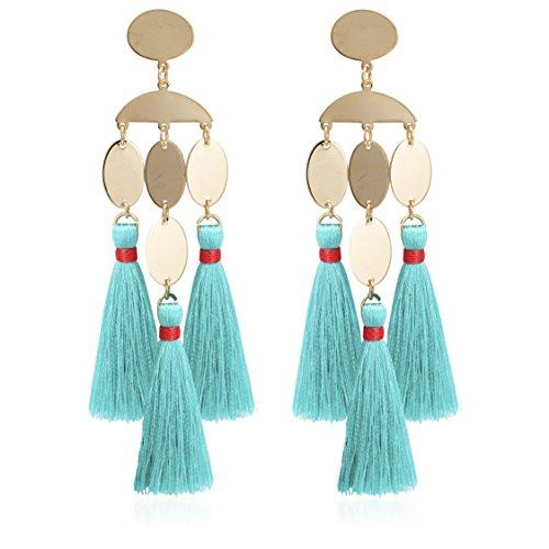 Boho Chic Geomeric Metal with Dangled Color Tassel Long Statement Earrings