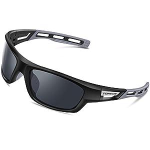 Torege Polarized Sports Sunglasses for Men Women Cycling Running Driving Fishing Golf Baseball Glasses EMS-TR90 Unbreakable Frame TR007 (Black&Gray&Gray lens)