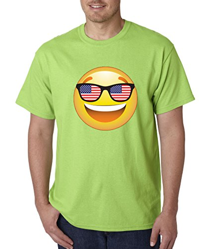 T-Shirt Emoji Smiley Face USA American Flag Sunglasses 4th July 4XL Lime ()