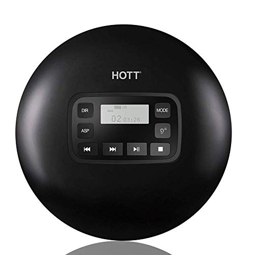 Portable CD Player, HOTT CD611 Personal Compact Disc Player with LCD Display, Stereo Earbuds and USB Charging Cable, Electronic Skip Protection Anti-Shock Function - Black