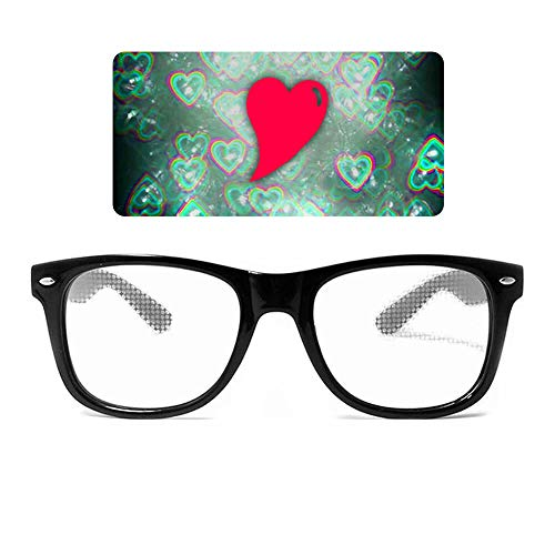 GloFX Heart Effect Diffraction Glasses - See Hearts! - Special Effect Rave EDM Festival Light Changing Eyewear (2018 Model)