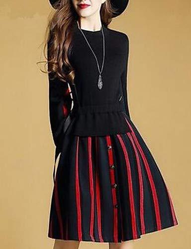 Red De sofisticado Sólido Vestido Calle Yfltz Chic Para Mujer rayado gzPq1Hwv