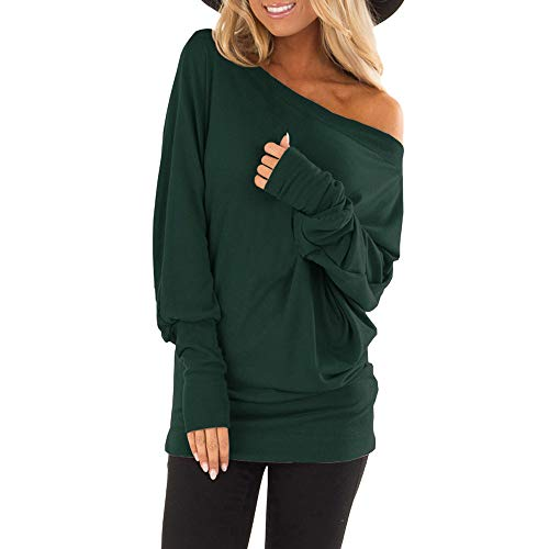 EKIMI Tops Women Off Shoulder Loose Pullover Sweater Batwing Sleeve Knit Jumper Top Blouse, (Y2, M)