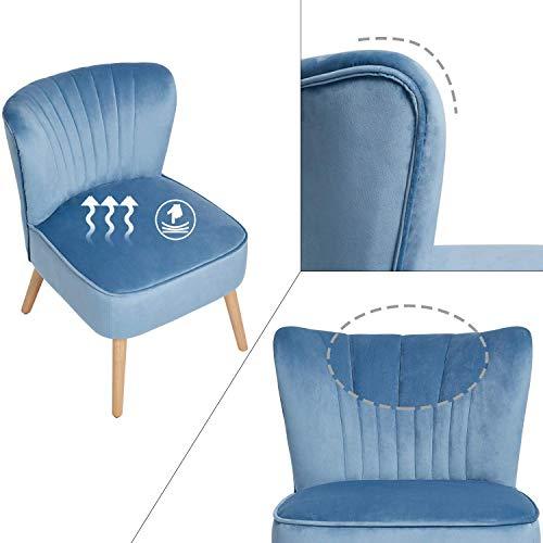 Laxllent enstaka accentstol sammet modern stol med träfötter, stoppad accentstol för vardagsrum salong och kontor, blå