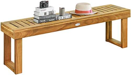 Tangkula 52 Inches Acacia Wood Patio Bench