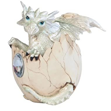 George S. Chen Imports SS-G-71472 White Baby Dragon in Eggshell with Gem Figurine, 4.25