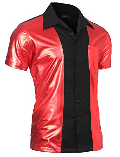 (COOFANDY Mens Party Shirt Shiny Metallic Disco Nightclub Style Short Sleeves Button Down Bowling Shirts,Red,Large)