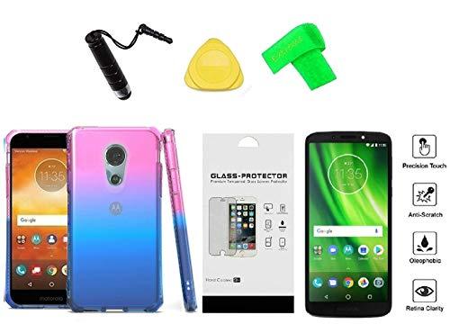 Motorola Moto E5 XT1920DL Popsicle TPU Flexible Skin Cover Phone Case + Tempered Glass + Extreme Band + Stylus Pen + Pry Tool (Blue)