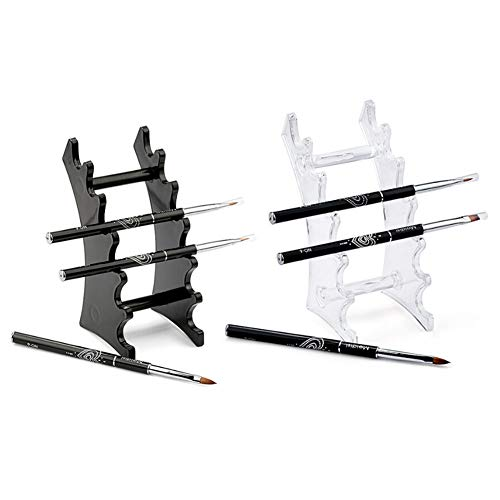 RAYNAG Set of 2 Pen Display Holder Acrylic Stands, Nail/Makeup/Art Brush Rack Organizer Holder, Clear and Black, 6-Layer Stand