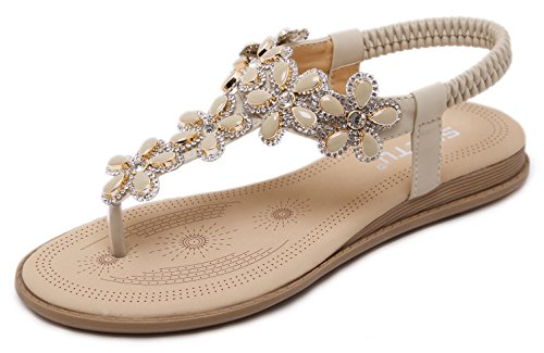 Women Summer Flat Sandals, Bling Bling Bohemian T-Strap Herringbone Thongs, Beige Floral Rhinestone Gem, Simple Open Toe Comfy T Strap Shoes for Dressy Casual Jeans Daily Wear Beach Holiday