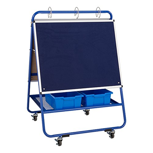Sprogs SPG-052-SO Mobile Preschool Dry Erase Flannel Easel with Bins, 4 Locking Casters, Blue
