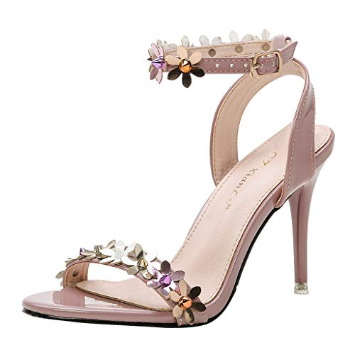 High Heels Dresses Shoes for Women,QueenMM Open Toe Buckle Strap Pump Heel Sandals for Evening Party Wedding Pink ()