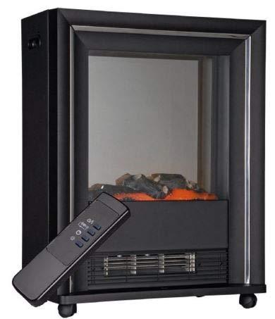 Nick and Ben Kamin elektrisch mit Holzfeuer-Effekt | Modell AJ30R Bologna | max. 2000 Watt schwarz Kamin-Ofen Warmluft-Heizgerä t