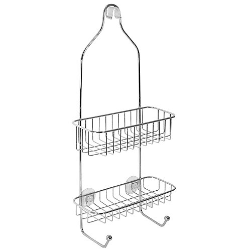 InterDesign Reo Hanging Shower Caddy - Bathroom Storage Shelves for Shampoo, Conditioner and Soap, Polished Stainless Steel