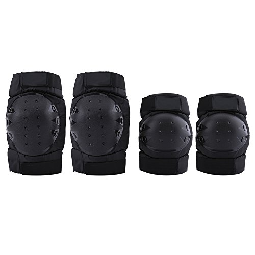 Cycling Knee Protector Pad,Men Women Motorcycle Riding Knee Support Protective Pads Guards Thicken Windproof Knee Sleeve Warmers 1 Pair Elbow Pads + 1 Pair Knee Pads,Black by Estink