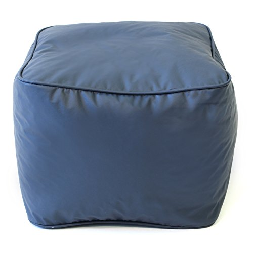 Gold Medal Bean Bags Leather Look Vinyl Ottoman, Medium, Navy