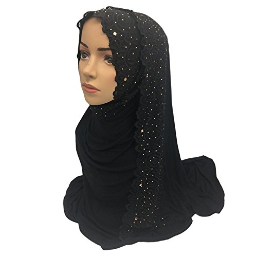 Lace Rhinestones Decorated Muslim Cotton Long Hijabs Scarves Shawls 75x170cm Weight: 0.28Kg (Black)