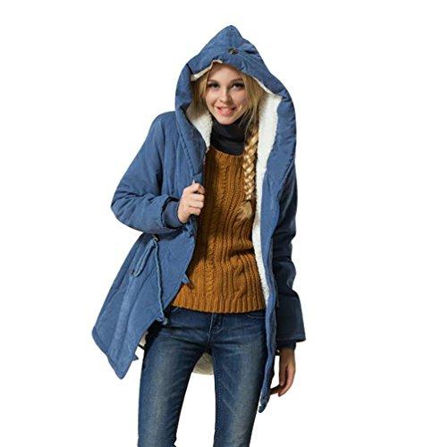 YOUJIA Abrigo Chaqueta Parka de Mujer Anoraks con Capucha Cordón Ajustable para Invierno Azul
