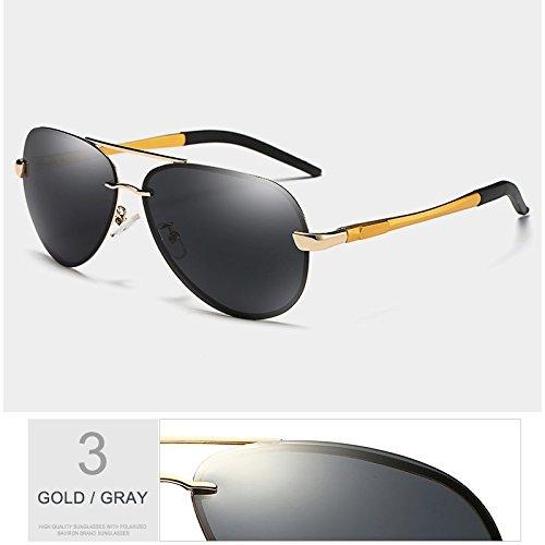 fresco hombre sol negro verde Sunglasses reborde visibilidad semi gafas Anti lente de Riflettente GOLD máxima polarizadas aviador gafas TL GRAY Guía OaYUqY