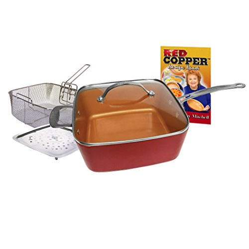 BulbHead 11198 Red Copper Square Pan 5 Piece Set by BulbHead, 10-Inch Pan, Glass Lid, Fry Basket, & More by...