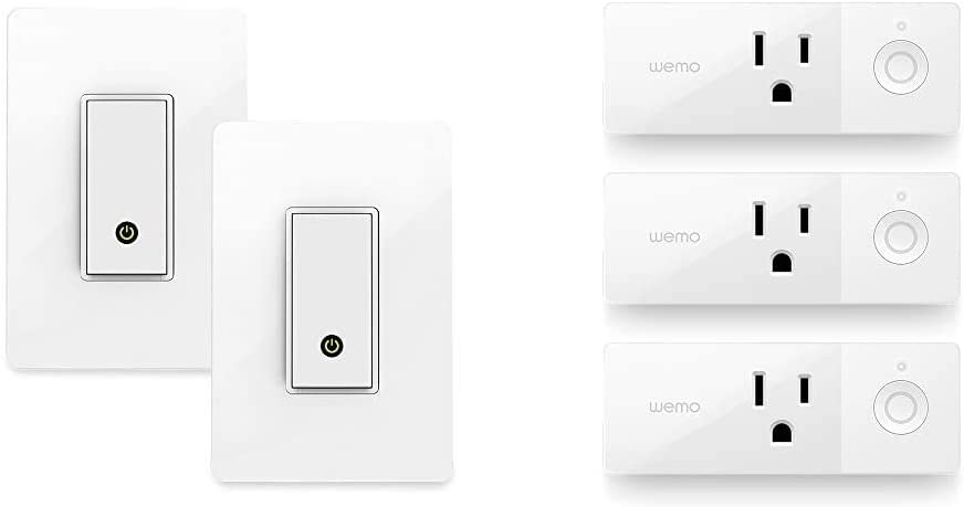 Wemo (F7C030-BDL) Smart WiFi Light Switch 2-Pack Bundle, Works with Amazon Alexa and Google Assistant, White & Mini Smart Plug 3-Pack, WiFi Enabled, Works with Amazon Alexa and The Google Assistant