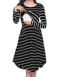 aacab22ae40f71 Womens Long Sleeve Stripe Maternity Nursing Dress for Breastfeeding