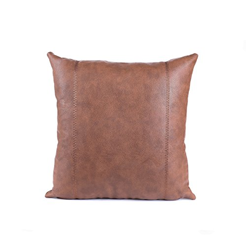 Snugtown Thick Faux Leather Pillow Cover Tan Decorative for Couch Throw Pillow Case Brown Leather Cushion Cover Leather Pillowcase 18x18 Inches (Brown Embroidery)