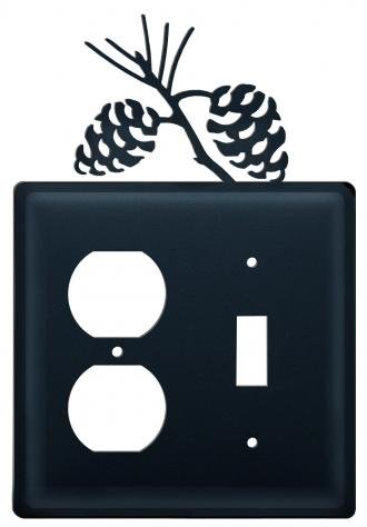 (EOS-89 Pinecone Single Outlet Single Switch Electric Wall Plate with Silhouette)