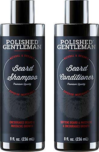Beard Growth Shampoo and Conditioner Set - Best Organic Face Wash With Biotin & Tea Tree - Best Beard Soap With Beard Oil - Facial Hair Growth Kit For Men - Rapid Hair And Beard Growth - Made In USA (Best Way To Stimulate Beard Growth)