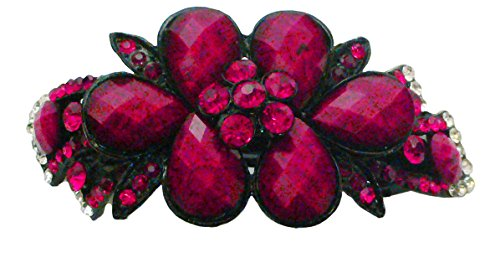 Large Barrette Decorated with Beads and Crystals in Stunning Colors U86012-0017red