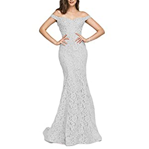 YSMei Women's Off Shoulder Long Lace Prom Dress Mermaid Beaded Evening Gown 418