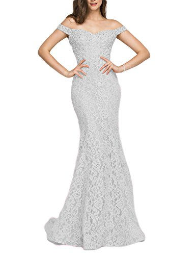 Off Silver Bead (YSMei Women's Off Shoulder Beads Evening Celebrity Dress Long Mermaid Formal Gown Silver Gray)