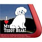 NickerStickers I Love My Teddy Bear!   Zuchon Shishon Bichon Shih Tzu Mixed Breed Vinyl Dog Window Decal 4